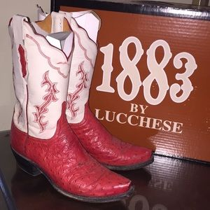 Lucchese Preloved 1883 Red With White Uppers 8.5